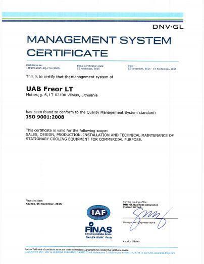 ZERTIFIKATE - FREOR LT, UAB - manufacturer of quality refrigeration ...